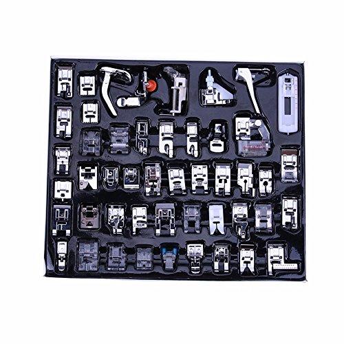 Multifuncional y profesional máquina de coser prensatelas pies 48/52pcs Kit juego de pie para hermano mariposa cantante Acme Janome Yokoyama Juki IKEA, 48 pcs