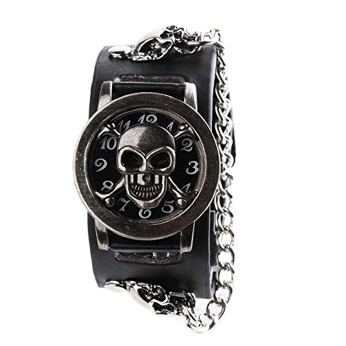 Yesurprise Reloj Analógico Cuarzo Estilo Punk Gótico Esqueleton con Cadena Tapa del Dial