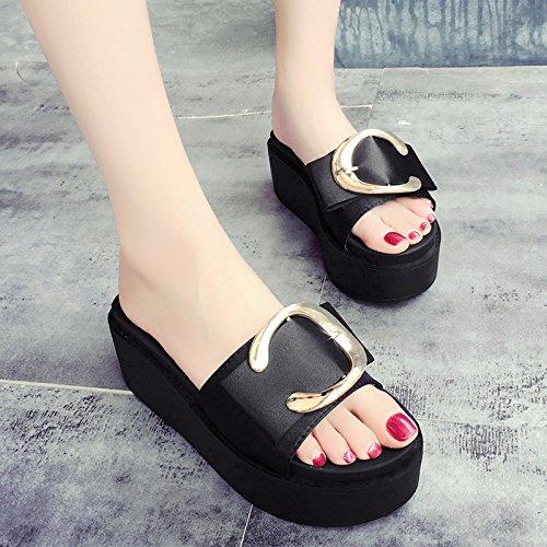 RUGAI-UE Con suole spesse indossare sandali estate pantofole Calzature Donna Black
