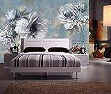 HONGYUANZHANG Einfache Weiße Blume Tapete Des Foto-3D Künstlerische Landschafts-Fernsehhintergrund-Tapete,80Inch (H) X 112Inch (W)