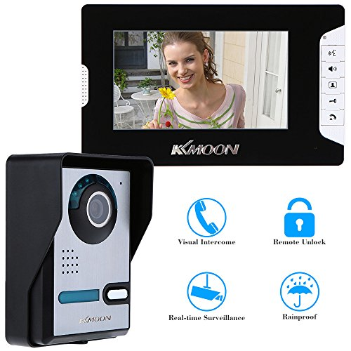 KKmoon 7 Inch Video Door Phone Doorbell Entry Intercom System Kit with 1-camera 1-monitor TFT LCD Screen Unlock IR Night Vision Rainproof Home Security