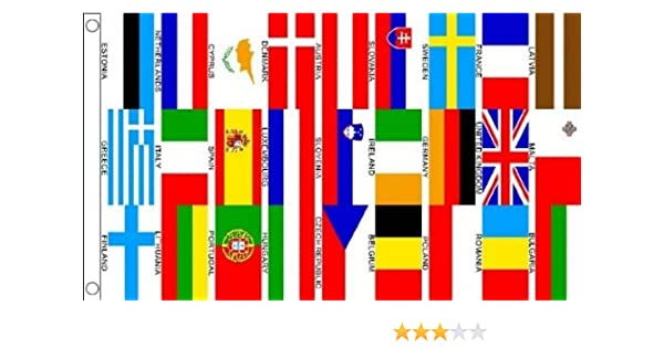 150 x 90 cm 25 Euro European Nations Countries 100/% Polyester Material Flag Banner Ideal For Club School Business Party Decoration Eurovision 5ft x 3ft