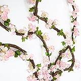 Girlande aus Kunstblumen, künstliche Rosenranken mit grünen Blättern, 160cm, 3Stück YH-Light Pink