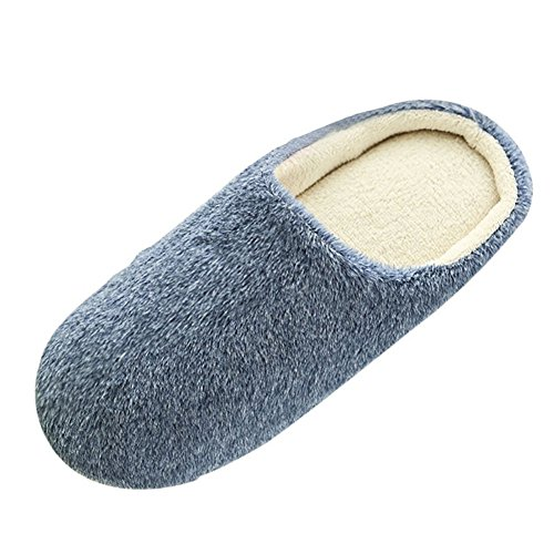 SAGUARO® Erwachsene Plüsch Hausschuhe Winter Wärme Indoor Pantoffeln Home Rutschfeste Weiche Leicht Baumwolle Slippers für Herren Damen, Dunkelblau 42