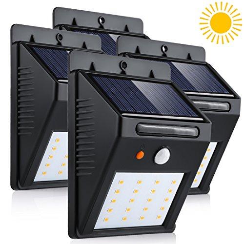 LEDMO Luces Solares LED, 20 LED Luz de Solar de pared, blanco cálido 3000K PIR Sensor de movimiento y sensor ligero Super brillante Energía solar impermeable Luz de solar LED con modos inteligentes para la pared al aire libre, jardín, cerca, patio, camino, cubierta, yarda, calzada, escaleras, 4 paquete.