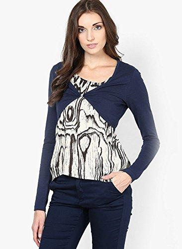 VERO MODA Women's Solid T-Shirt (10108713_Black Iris_Large)