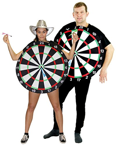 Foxxeo 40010 | Dartscheiben Dartscheibe Pfeil JGA Kostüm für Erwachsene, Größe:M/L (Dart Kostüme)