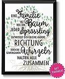 Familie ist wie ein Baum Bild im schwarzem Holz-Rahmen Geschenk Geschenkidee Danke sagen Dankeschön Eltern