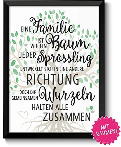 Familie ist wie ein Baum Geschenke Bild mit Rahmen Geschenkidee zum Vatertag Muttertag Geburtstag Hochzeitstag Ostern für Eltern Mama Papa Mutter Vater Danksagung
