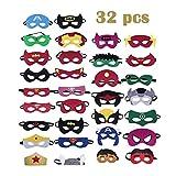 Xueliee 32 pièces Masques de Super-héros, Masques pour Enfants Dress Up Masque de Super-héros Cosplay Pour Enfants Cadeaux D'anniversaire et Fête d'Anniversaire pour Filles, Garçons et enfants...