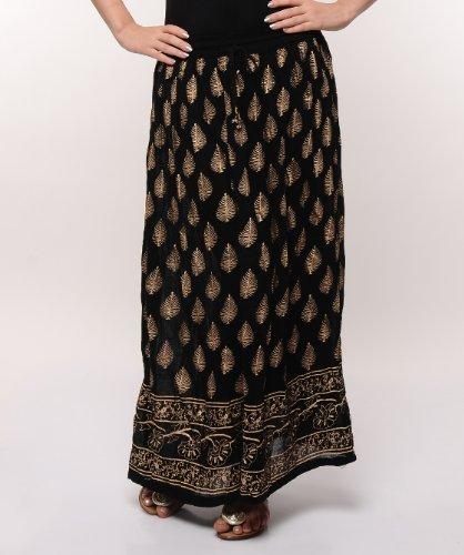 Soundarya Women Cotton Skirts -Black -Free Size