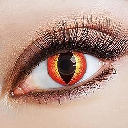 aricona Farblinsen rote Halloween Kontaktlinsen Katzenaugen | bunte farbige Jahreslinsen für dein Teufel Kostüm rot gelbe Linsen Cat Eye