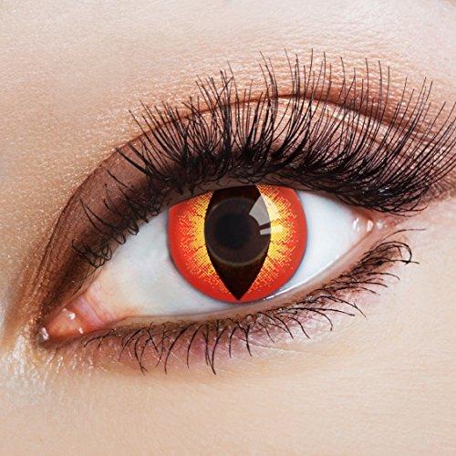 ote Halloween Kontaktlinsen Katzenaugen | bunte farbige Jahreslinsen für dein Teufel Kostüm rot gelbe Linsen Cat Eye (Orange Halloween Augen Make-up)