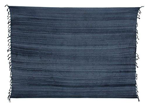Sarong ca. 170cm x 110cm Mehrfarbig Multicolor Gestreift Handgefertigt inkl. Sarongschnalle im Herz Design - Viele Farben zur Auswahl - Pareo Dhoti Lunghi Grau