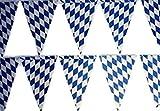 HAAC Wimpelkette Bayern Farbe blau-weiß Rautenmuster für Bierfest, Feste, Fasching, Karneval, Oktoberfest 10 m