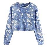 Dasongff Frauen Gedruckt Brief Weihnachten Langarm Sweatshirt Pullover Tops Bluse Shirt Kurze Pullover