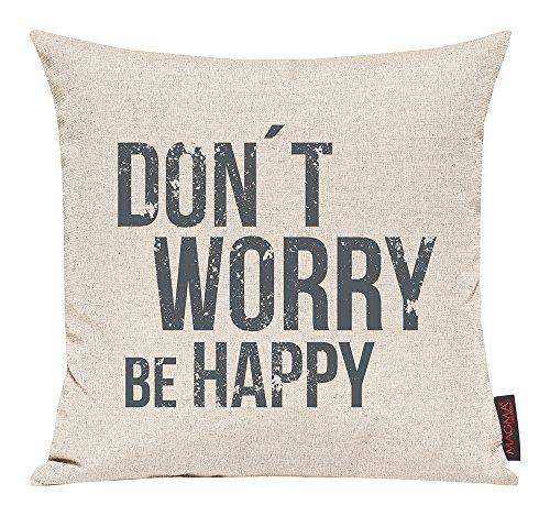 """'Federa Emotion ca. 30x 50cm """"Don' t worry be happy in della Serie citazioni Emotion nel angesagten serigrafia (con chiusura lampo) colore 089grigio chiaro"""