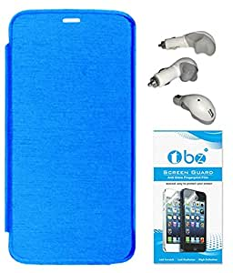 TBZ Flip Cover Case for Micromax Canvas A1 with Car Charger and Screen Guard -Blue