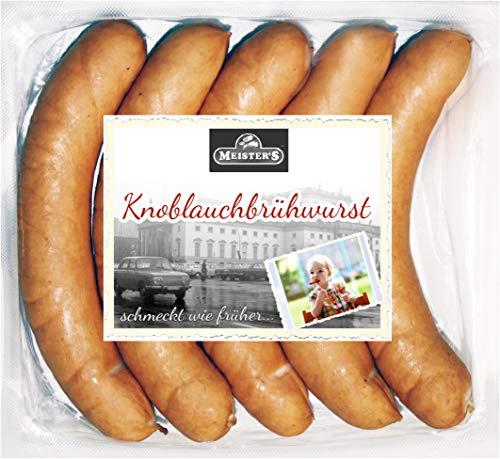 Knoblauchwurst | Knoblauchbrühwurst | Meister´s Bockwurst traditionelles Würstchen geräuchert | Wurst im Naturdarm | Premium-Qualität | 5 x 100g atmos
