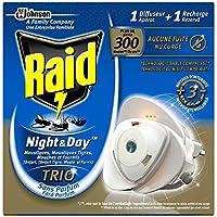Raid difusor eléctrico de arena comprimido, antimosquitos, mosquitos hormigas tigres, moscas y), 1recarga, Night & Day Trio, insecticida