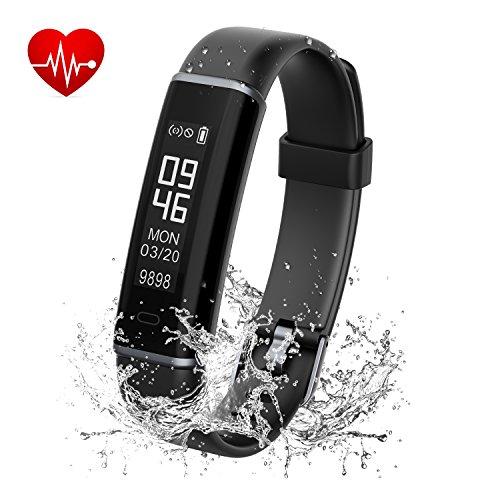 Fitness Tracker, Kinglead IP67 Wasserdicht Staubdicht Bluetooth Smart Band mit Pulsmesser Schlaf Monitor Schrittzähler Anruf Erinnern Android & iOS Activity Tracker (Schwarz) -