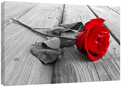 MOOL Large 32 x 22-inch Rose Black White Backdrop Canvas Wall Art Print Hand Stretched on a Wooden Frame with Giclee Waterproof Varnish Finish Ready to Hang, Red