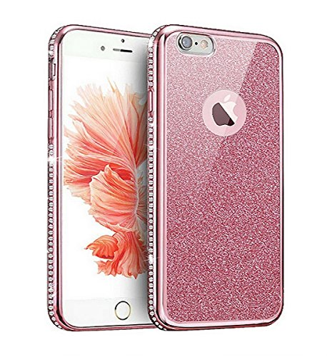 iphone 6 Plus Transparent Hülle,Ultra dünn iphone 6 Plus Gliiter TPU Bumper Case,Ekakashop Modisch Durchsichtig Luxus Silikon Flexible Gel Shiny Case Crystal Bling Handytasche mit Diamant Schale Handy Rosa Glitzern