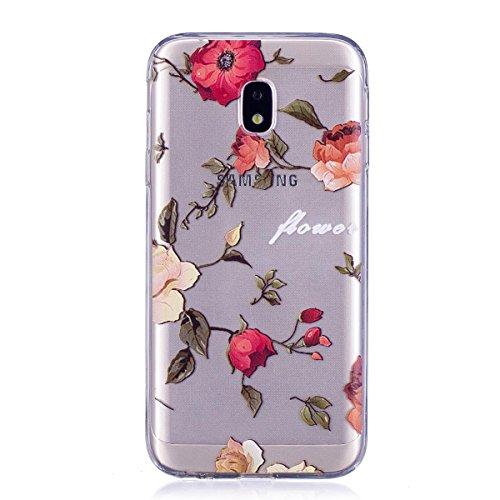 Meeter Samsung Galaxy J3 (2017) / J330 Case, Soft TPU Transparent Clear Soft TPU Gel Case Cover for Samsung Galaxy J3 2017, [Ultral Thin] [Scratch Resistant] Red Flower Pattern Print So