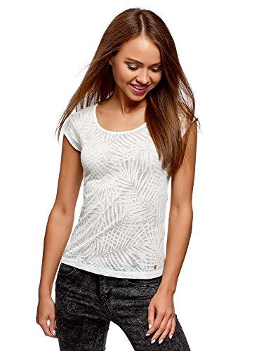 oodji Collection Damen T-Shirt aus Strukturiertem Stoff mit Raglan-Ärmeln, Weiß, DE 42 / EU 44 / XL -