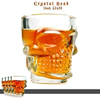 "Takestop® - Juego de 4vasos de licor ""Chupitos"" calavera para ron, vodka, wisky (de vidrio)"