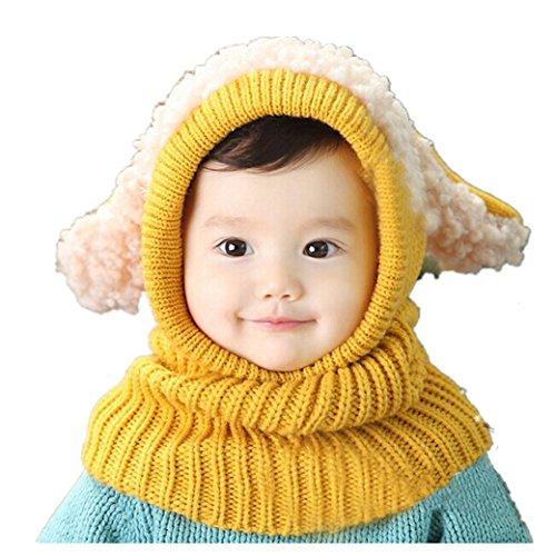 Babybekleidung Hüte & Mützen Longra Niedlich Winter Baby Kinder Mädchen Jungen Warm Woll Haube Kapuze Schal Mützen Hüte (Yellow)