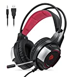 Gaming Headset, EasySMX V350 3.5mm Wired Gaming Headset with Suspension Headband Noise Isolating Over Ear Headphone with Microphone for New Xbox One PS4 Mac etc