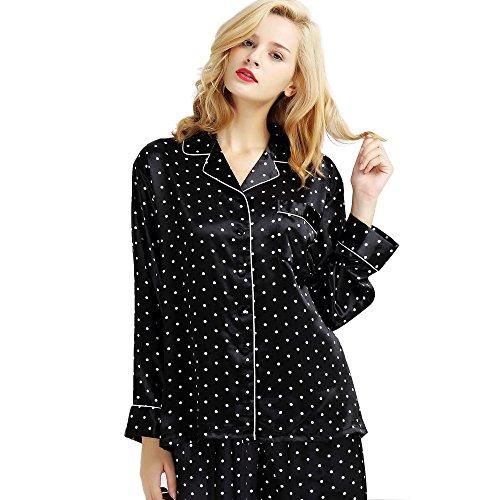 Mens Silk Satin Pajamas Set Sleepwear Loungewear S~3XL Plus__Gifts Black