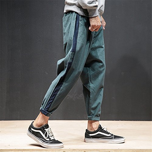 DaBag Uomo Pantaloni A Righe Coulisse In Vita Pantaloni Matita Lunga Di Cotone Sport Casuali Verde