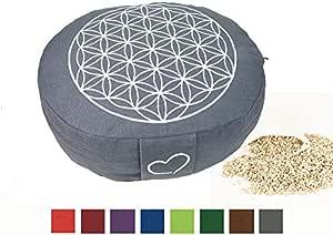 maylow Yoga Coussin de m/éditation avec c/œur de Haute qualit/é avec Broderie Shanti Housse Lavable Coussin int/érieur rempli d/épeautre Bio 2 hauteurs de 33 cm