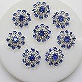 20 Stück runde, blaue Knöpfe mit Strasssteinen, Verzierung für Haarbänder, Haarschleifen, Hochzeiten, Bouquets, Kleidung, mit Loch zum Nähen, 20 mm