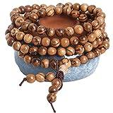 MeiPing 108 Boules 6mm Bracelets Bois de Santal pour Homme Femme Bouddha Bracelet...