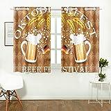 Reopx Emblema in Stile Vintage Bicchieri Birra Oktoberfest Tende della Cucina Tende della Finestra Tende per caffè, Bagno, Lavanderia, Soggiorno Camera da Letto 26 x 39 Pollici 2 Pezzi