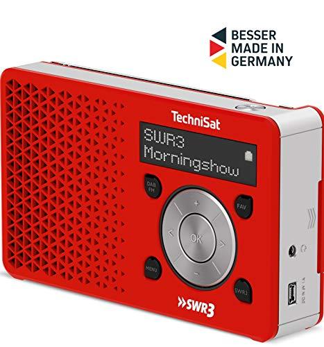 TechniSat Digitradio 1 SWR3-Edition Digital-Radio (klein, tragbar, mit Lautsprecher, DAB+, UKW, Favoritenspeicher, Direktwahltaste zu SWR3) rot/silber