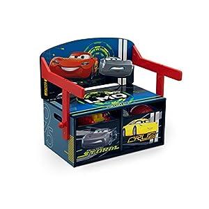 familie24 Disney Cars 3 in 1 Schreibtisch + Sitzbank + Spielzeugkiste umklappbar Kindermöbel Kindersitzgruppe Tisch…