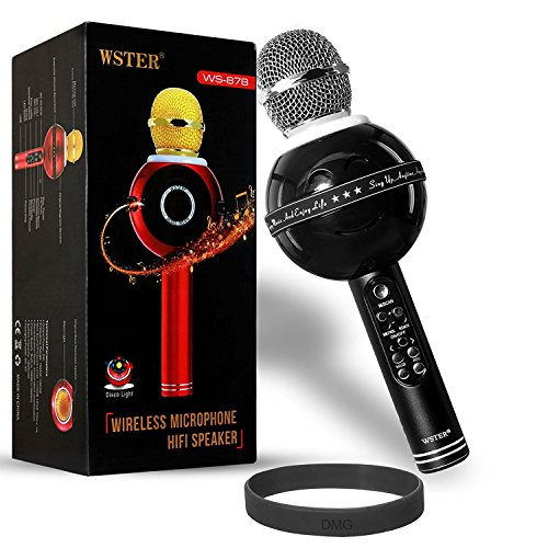 DMG Bluetooth Karaoke Microphone for Singing, Wireless Professional Handheld Portable Speaker with Party Lights - Multicolor