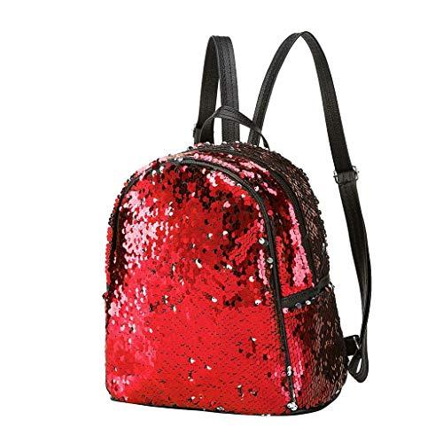 Vektenxi Mode Reversible Pailletten Rucksack Pu-Leder Glitter Schultasche Rucksack Daypack für Frauen Mädchen Reisen Im Freien Verwenden Liefert Langlebig und Praktisch -