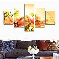 H.COZY 5 Parti Caldo & giglio fiore tela pittura per vivere triplex di immagine arte moderna pittura dipinti su tavola della camera vintage home decor (Senza telaio) Senza cornice far206 50x30 pollici