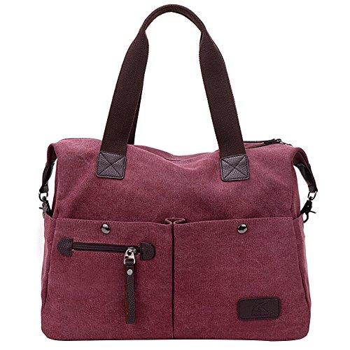 Butterme Sacchetto di spalla della tela di canapa delle donne Sacchetto quotidiano di lavoro borsa della borsa Borsa di acquisto del sacchetto di acquisto di fine settimana di borsa Vino rosso