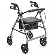 NRS Healthcare A-Series 4-Wheel Rollator, Walking Aid, Silver (Eligible for VAT Relief in The UK)