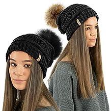 TOSKATOK® Sombrero de Gorrita Tejida con Textura de Mujer con Pompones de  Piel sintética Desmontable b01da9a3a01