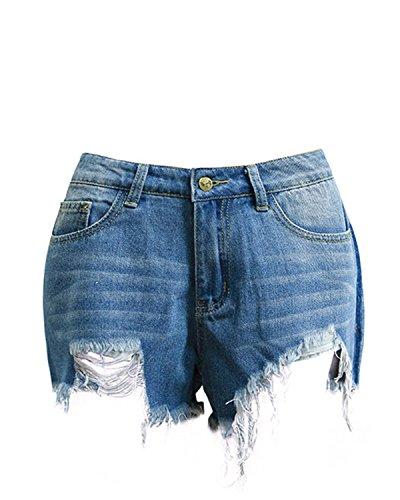 Auxo Damen Hohe Taille Unregelmäßig Denim Loch Sommer Jeans Shorts Kurz Hosen Hot Pants Blau