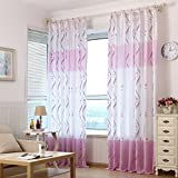 Clode® 1pc100 x 200cm Chemiefasern Transluzent Tür Balkon Wohnzimmer Fenster Vorhang Volants (Frische Lila)