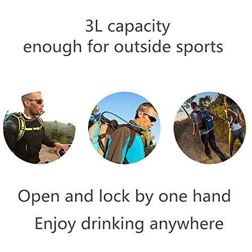 Blusmart Trinkbeutel 3L Trinkblase Auslaufsicher Trinksystem Blase Geruchsfrei Wasser Beutel reservoir für Touren, Camping, Wandern, Laufen, Radfahren, Reisen und andere Sport-Aktivitäten (BPA-frei un Armeegrün