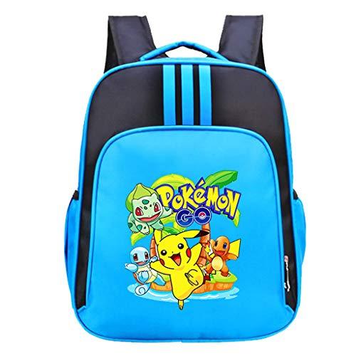ksack Kinder,Pikachu Cartoon Muster Grundschule Rucksack Mädchen Junge,Karikatur Drucken Schultasche Rucksäcke Daypack Verschleißfest Tasche Große Backpack Sale (Blue) ()